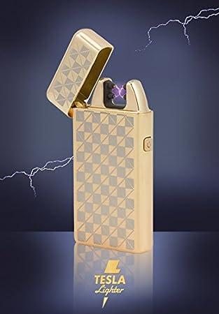 Tesla Lighter T05 (Dual Arc) in der Farbe Gold