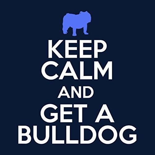 Keep Calm And Get A Bulldog Women's Hooded Sweatshirt Navy blue