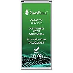 GadFull Batterie compatible avec Samsung Galaxy Alpha | 2018 Date de Production | correspond à d'origine EB-BG850BBE | Compatible avec Alpha G850F | Batterie de remplacement