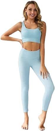 Ducomi ANA Completo Fitness Donna, Leggings Palestra, Top Push Up con Coppe - Tuta Sportiva Running, Yoga, Tennis e Palestra - Kit Leggins Snellente e Reggiseno Sportivo Allenamento