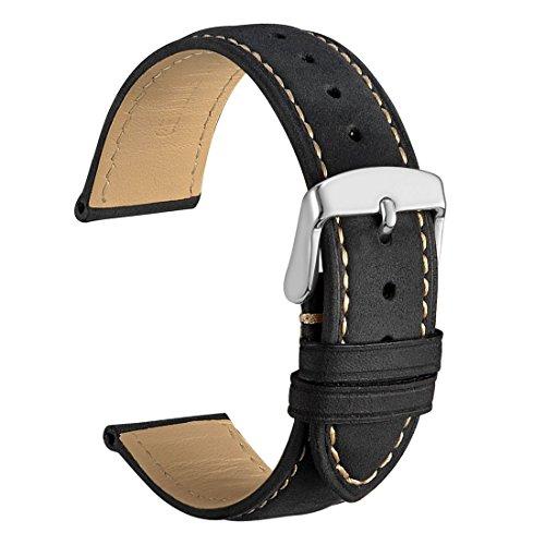 WOCCI 20mm Vintage Leder Uhrenarmband, Ersatz Armbanduhr Unisex (Schwarz)