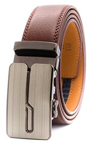 GFG Herren Gürtel,Leder Automatik Gürtel Für Herren Jeans Anzug Gürtel-3,5cm Breite-0010-110-Braun (Trim Hosen-anzug)