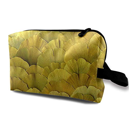 Golden Ginkgo Leaves Toiletry Bag Waterproof Fabric Cosmetic Bags Travel Case For Women's Accessories