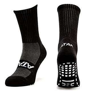 Atak Sports Men's Non slip Mid Leg Socks, Plain Black, 9-12