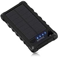Xnuoyo Cargador Solar Portátil 20000mAh Impermeable Batería LED de luz de Emergencia para Panel Solar Alta Conversión Batería Externa Power Bank con Carabinero Compatible con iPhone, Samsung Galaxy y Otros Teléfonos Inteligentes(Negro)