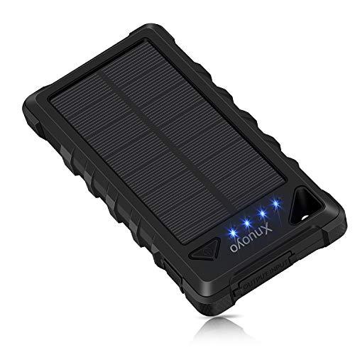Xnuoyo 20000mAh Solar Ladegerät IP67 Wasserdicht Duale USB Anschlüsse Externer Akku Portable Bank Power Ladegerät mit Karabiner für Android, IOS (Schwarz) -