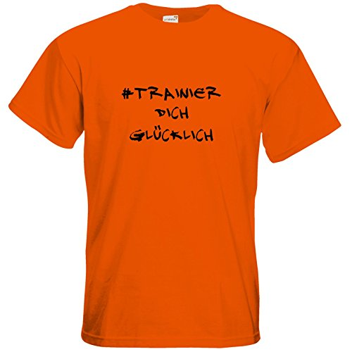 getshirts - Station B3.1 - T-Shirt - #trainierdichglücklich schwarz Orange