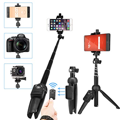 Luxebell Perche Selfie Trépied Bluetooth, Bâton de Selfie Trepied avec Télécommande pour gopro caméra,iPhone X / 8/8 Plus 7/7 Plus / 6s / 6S Plus / 5s, Samsung,Huawei, Android et Autre Téléphones