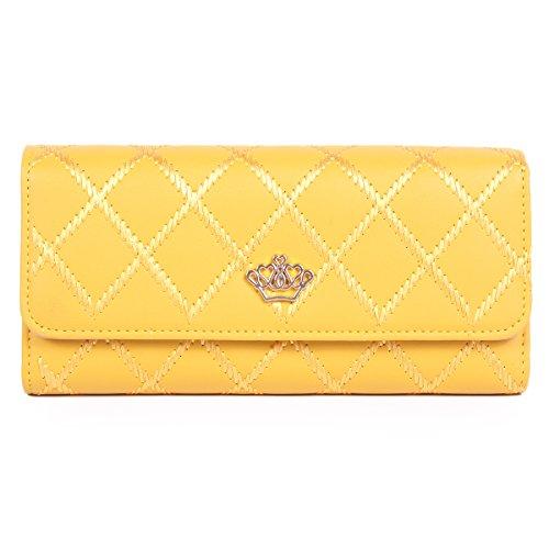 Damara Quilting stile classico Trifold Portafoglio Corona Adorn Frizione Borsa Yellow