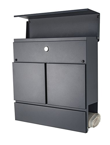 Designer Briefkasten / Mailbox / Modell 777A / anthrazit RAL7016 mit Zeitungsfach / NUR 1 x VERSANDKOSTEN FÜR ALLE BESTELLUNGEN ZUSAMMEN ! - 2