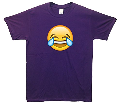 Laughing Crying Face Emoji T-Shirt Lila