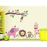 ملصق جداري بطبعة حيوانات قابل للازالة مناسب كديكور لغرف الاطفال بالمنزل