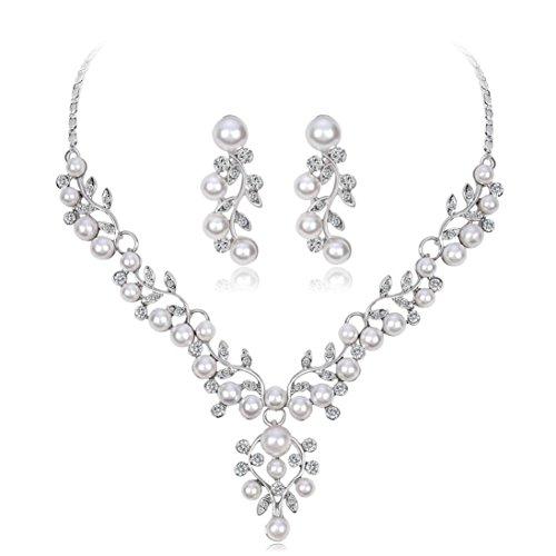 Kette Damen, HUIHUI Halskette Anhänger Damen elegant Strass Perlenkette Halskette Pendant Halskette Kette amulett zum öffnen mit kette Halskette für Frauen Mädchen + Ohrringe (C)