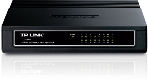 TP-Link TL-SF1016 Rackmount Fast Ethernet Netzwek Switch (16x 10/100Mbit/s Ports, Metallgehäuse, Plug&Play, Lifetime warranty)