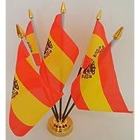 España Estado español bandera de 5mesa de sobremesa con pantalla dorado Base