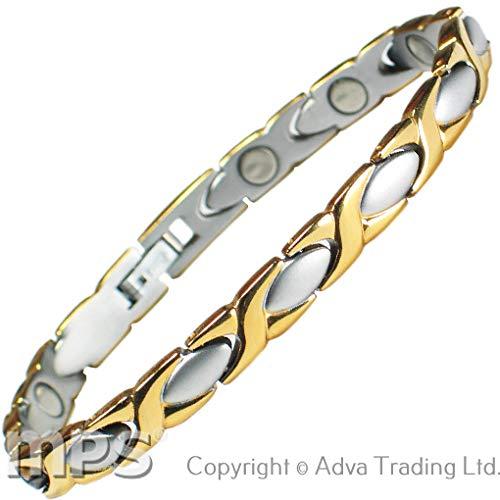 MPS® Damen Edelstahl Magnetische Armband, Leistungsstarke 3000 Gauß Magneten, mit gratis geschenk geldbörse
