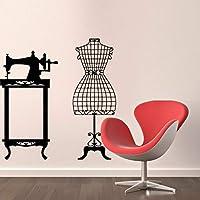 Xbwy Calcomanías de pared Máquina de coser Calcomanía de maniquí Vinilo Taller Decoración 86x89cm