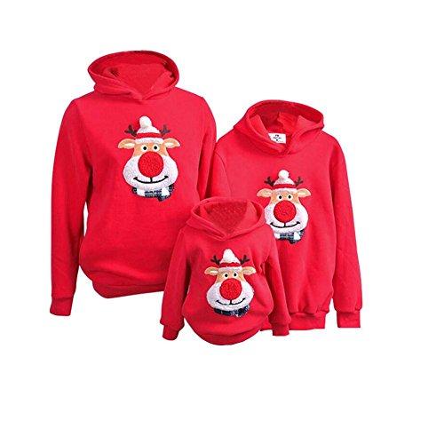 Pullover Weihnachts Sweatshirt Inner mit Samt Rudolf das Rentier Design,CHUANHAO Kapuzenpullover Xmas Familie Bekleidung für Mutter Vater Baby (Anti Kostüm Weihnachts)