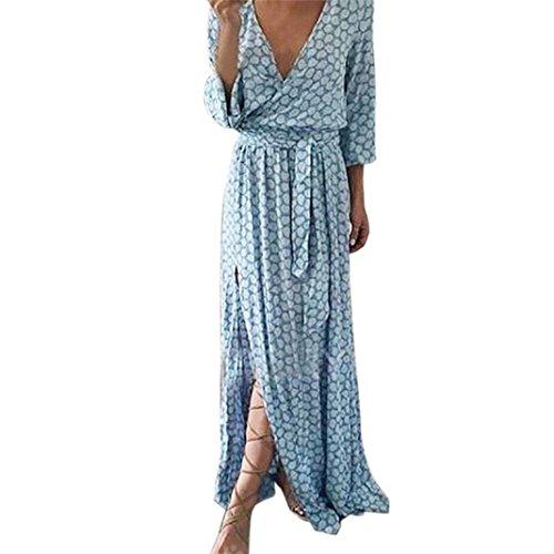 Damen Kleider Frauen Dress Sommerkleider Vintage Boho Maxikleid Ärmelloses Beiläufiges Strandkleid Blumenkleid Abendkleid Floralen Druck Minikleid Partykleid Cocktailkleid
