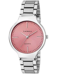 Laurels Pink Color Analog Women's Watch With Metal Chain: LWW-ALC-120707