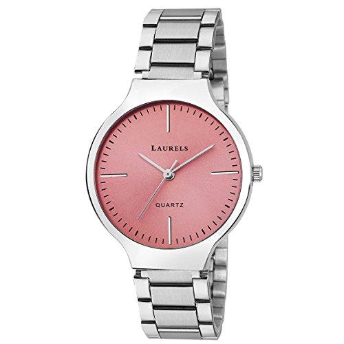 Laurels Pink Color Analog Women's Watch With Metal Chain: LWW-ALC-120707