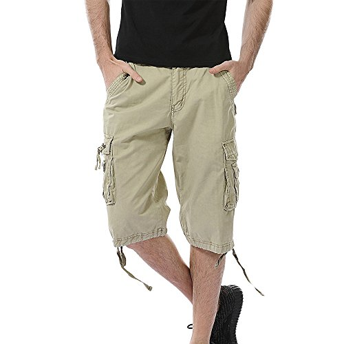 GreatestPAK Pants Pure Color Shorts Herren Outdoor Taschen Strand Arbeit Hosen Cargo Pant (38(XXL), Khaki) -