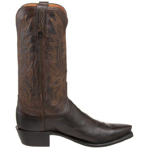 Lucchese Cole Hommes Cuir Santiags Chocolate Burnished