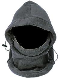 EOZY Multipurpose Use 6 in 1 Thermal Warm Fleece Balaclava Hood Police Swat Ski Bike Wind Stopper Full Face Mask Hats Neck Warmer Outdoor Winter Sports Snowboard Proof (Grey)