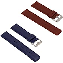 Turnwin for Fossil Q Nate Gen 2 Hybrid Straps Wristbands, 2pcs Replacement Leather Bands for Fossil Q Nate Gen 2 Hybrid Only (Blue+Brown)