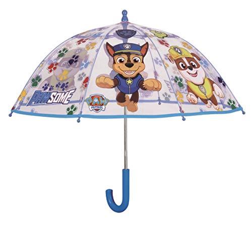 POS Handels GmbH 30879 - Stockschirm mit Paw Patrol Motiv, Regenschirm für Kinder, manuelle Öffnung und Fiberglasgestell, idealer Begleiter für regnerische Tage