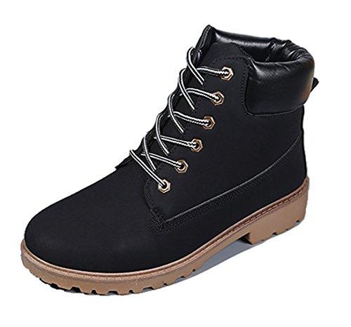 Brinny Herren Outdoor Worker Boots Schnürstiefel Profilsohle Schwarz