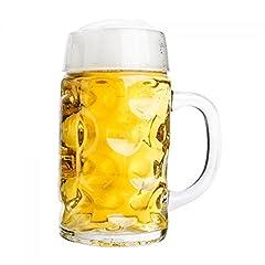 Idea Regalo - Van Well Mass Brocca 0,5L calibrato | a mezzo litro Boccale di birra con manico | Birra vetro lavabile in lavastoviglie perfetto adatto per uso alimentare