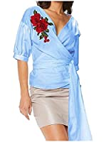 Tootlessly Women Half Sleeve Rose Embroidery Cross Front Lacing Blouse Blue XS