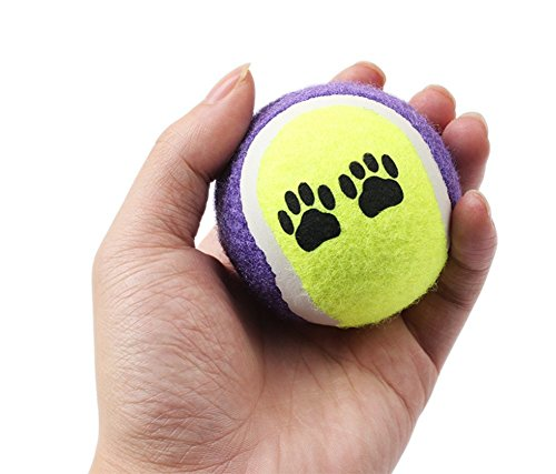 Cdet Juguetes para perros 6cm bola bicolor de mascota de pelota de juguete sin huella elástica de mascotas de tenis Color al azar