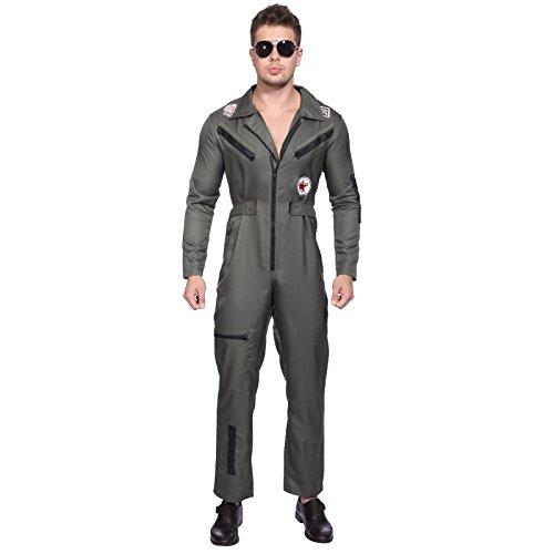 Herrenkostuem Flieger Overall Millitaer Pilotenkostuem Piloten Fliegeroverall Millitaer Kostuem Groesse L (Tom Cruise Top Gun Kostüme)