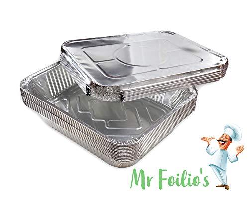 Mr Foilio's 12 große robuste Aluminium-Folien-Schalen mit 12 Folien-Deckeln zum Backen von Braten, Kochen und Lebensmittelaufbewahrung, 32,4 x 26 x 60 cm Aluminium-torte