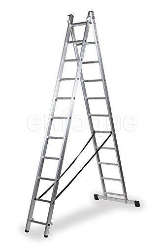 Escalera profesional de aluminio transformable apoyo-tijera con base un acceso 2 x 11 peldaños serie bis