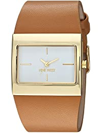 Nine West Women's NW/2034WTCM Gold-Tone and Caramel Colored Strap Watch