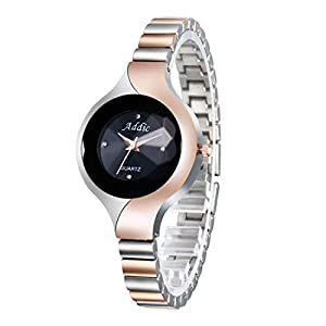 Addic Analogue Women's Watch (Black Dial Rose Gold Colored Strap)