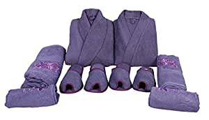 Generic Men's and Women's Koyoka Cotton Bathrobes (Purple, Standard Size) -Set of 8 Pieces