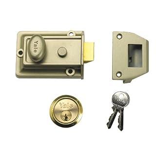 Yale P-77-ENB-PB-60 Traditional Nightlatch, Standard Security, Electro Nickel Brass Finish, 60 mm