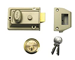 Yale Locks 77ENBPB Traditional Nightlatch Enamelled Nickel Bronze Cylinder 60mm Backset - Brass Plated (Boxed)