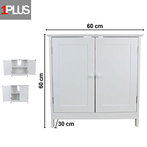 1PLUS Waschbeckenunterschrank Marbella aus Holz in 2 Größen, weiß (60 x 30 x 60 - Waschbeckenunterschrank 60