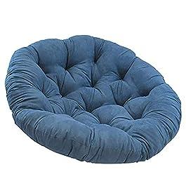 Coton Solide Papasan Patio Coussin De Siège Rond 52″ X 6″ X 52″ Rotin Coussin De Chaise en Osier Accueil Coussin De Sol Épais Nid Tapis-Bleu Diamètre130cm(51inch)