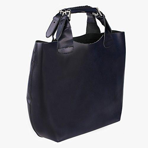 Borsa a Mano da Donna con Tracolla in Vera Pelle Made in Italy e Sacca Estraibile Interna in Cotone Chicca Borse 44x30x13 Cm Blu