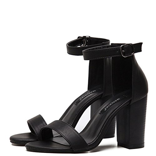 Xianshu Women es Open Toe Knöchelband Block Heel Schuhe High Heels(Schwarz-3 UK) (Block-heel Open-toe)