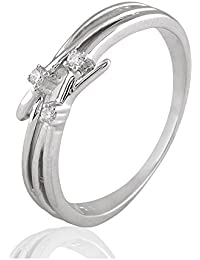 Silvernshine 0.03 Cts Round Cut Sim Three Stone Engagement Ring In 14KT White Gold Over