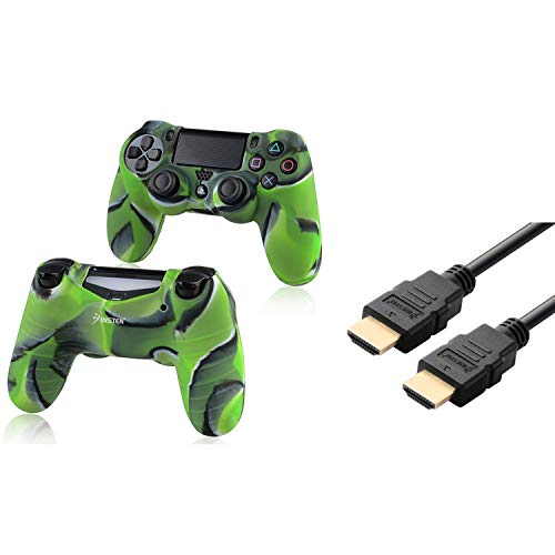Insten Tarnung Marine-Grun-Silikon-Haut-Kasten mit FREE 6FT / 1.8M Schwarz High Speed ??HDMI-Kabel M / M kompatibel mit Sony PlayStation 4 (PS4) Regler -