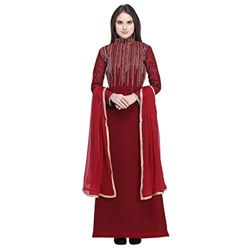 Monika Silk Mill Women's Georgette Semi Stitched Anarkali Suit (Maisha 4806A _Red_ Free size)
