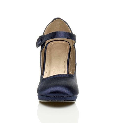 Femmes talon haut Mary Jane soir travail escarpins babies chaussures pointure Satin bleu foncé marine